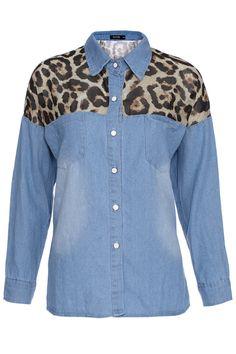 Shop ROMWE Yellow Leopard Print Denim Shirt at ROMWE, discover more fashion styles online. Print Denim, Latest Street Fashion, Shirt Dress, Blouse, Cheetah Print, Denim Shirt, Romwe, Yellow, Mens Tops