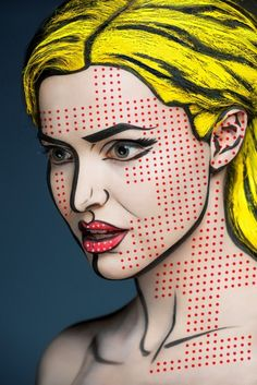 Fstoppers alexander khokhlov 2 Artist Turns Models Faces Into Optical Illusions With Makeup. This series is the work of both Alexander and a Moscow makeup artist Valeriya Kutsan. Art Pop, Maquillage Halloween, Halloween Makeup, Diy Halloween, Pop Art Halloween Costume, Halloween Face, Alexander Khokhlov, Comic Book Makeup, Comic Books