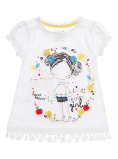 Designed with a colourful print, this top will add a fun finish to any outfit. Accented with elasticated sleeves and tasselled ends, this piece will partner well with denim shorts. Girls white festival top Colourful print Elasticated sleeves Tasselled ends Keep away from fire