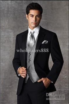 Black Two buttons Notch Lapel Groom Tuxedos Groomsmen Men Wedding Suits Prom Clothing/custom groom suit Prom Tuxedo, Tuxedo Wedding, Wedding Suits, Wedding Attire, Wedding Tuxedos, Wedding Jacket, Party Wedding, Wedding Groom, Wedding Black