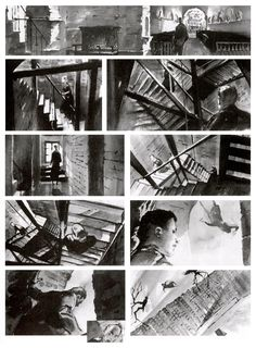 "Storyboard for Alfred Hitchcock's 'Vertigo' ""The sharply increasing pitch of the… Storyboard Examples, Animation Storyboard, Storyboard Artist, Storyboard Film, Alfred Hitchcock, Comic Layout, Arte Sketchbook, Bd Comics, Visual Development"