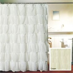 white ruffled shower curtain for 20 dollars.  For master bath.. use blue ribbon for shower hooks?