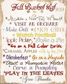 Fall Bucket List 2013 - Free printable