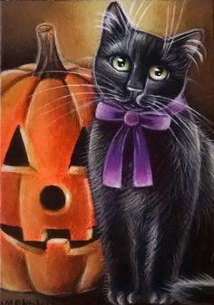 Black Cat Halloween Painting