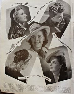 "vintage crochet hat and snood patterns from Va-Voom Vintage with Brittany . Yeah, you heard me— ""snood patterns. 1940s Hairstyles Short, Braided Hairstyles Updo, Vintage Hairstyles, Updo Hairstyle, Braided Updo, Prom Hairstyles, Vintage Outfits, Vintage Fashion, 1940s Fashion"