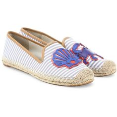 Tory Burch Crab Striped Espadrille Flats (4.545.335 VND) ❤ liked on Polyvore featuring shoes, flats, apparel & accessories, blue dusk, slip on flats, tory burch shoes, espadrille flats, round toe flats and leather espadrilles