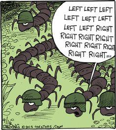 Marching in the centipede army. | Read Strange Brew #comics @ http://www.gocomics.com/strangebrew/2015/09/16?utm_source=pinterest&utm_medium=socialmarketing&utm_campaign=social | #GoComics #webcomic