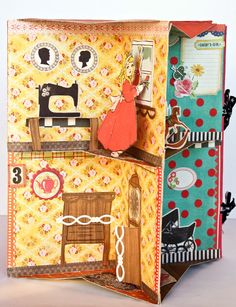 Pop-up doll house book.  This would be fun to make to match your home. Make pockets between pages to tuck in photos of each room. I would love to have this from my growing-up houses.