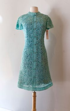 Vintage 1960s Turquoise Cocktail Dress By Cameo ~ Vintage 60s Ribbon Weave Fitted Party Dress by xtabayvintage on Etsy