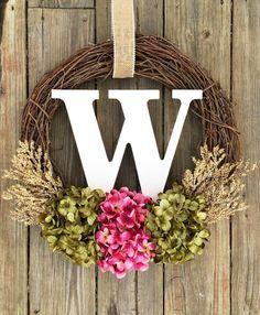 Monogram Wreath Spring WreathSpring Decor Summer by WreathMeLove