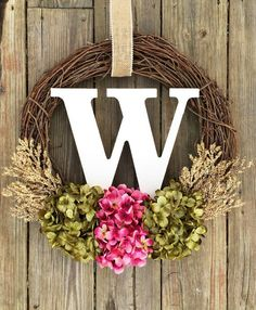 Monogram Wreath Spring WreathSpring Decor Summer by WreathMeLove