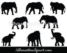 Silhouette of Elephant in Vector format - Silhouette Clip Art