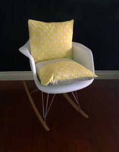 Eames Rocking Chair Cushion for baby nursery. Yellow Polka Dot, green stripe by RockinCushions, $44.00