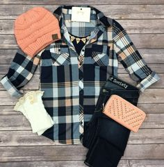Penny Plaid Flannel Top: Blue/Peach top can be worn as long sleeves or a 3/4 top. It is so very soft and comfy! This is a soft stretchy awesome material!