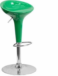 Contemporary Green Plastic Adjustable Height Bar Stool with Chrome Base, CH-TC3-103-GN-GG by Flash Furniture | BizChair.com