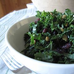 Marinated Kale Salad - honey balsamic dressing with cranberries and nuts