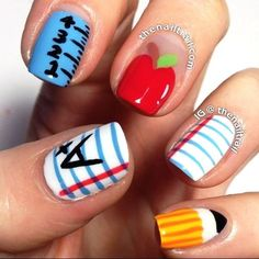 Back To School Nail Designs Gallery back to school nails youd probably get suspended for such Back To School Nail Designs. Here is Back To School Nail Designs Gallery for you. Back To School Nail Designs easy back to school nail art. Back To Sc. School Nail Art, Back To School Nails, Fancy Nails, Love Nails, Pretty Nails, Manicure, Diy Nails, Teacher Nails, Do It Yourself Nails