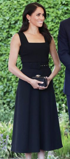6d7d5a65226 Emilia Wickstead Black Square Neck Midi Dress - Meghan Markle Dresses