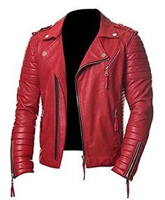 Prestige Homme Red MR 18 Men's Biker Quilted Style Synthetic Leather Jacket: Amazon.co.uk: Clothing