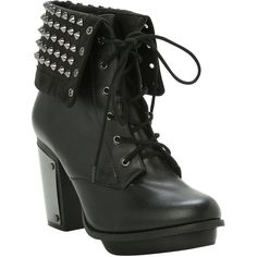 Studded Combat Boot Heel | Hot Topic (£49) ❤ liked on Polyvore featuring shoes, boots, ankle booties, heels, black leather lace up boots, black combat boots, black studded booties, studded booties e combat booties