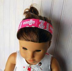 doll cloth, little girls, girl doll, doll headband, christmas, american girl, prints, headbands, honey