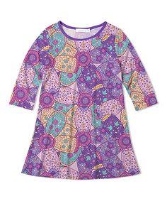 Purple & Turquoise Floral  Dress
