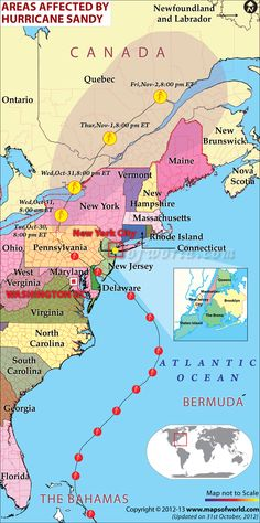 Map of Hurricane Sandy Affected Areas-31 Oct-2012