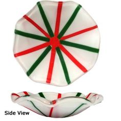 Fused glass Flared Candy Cane Bowl - Free Fusible Glass Project