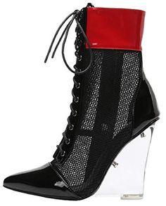 d32e3c6c678 Mackin J 405-1 Women s PVC Lucite Clear Wedge Heel Open T..