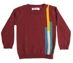 Aymara bruine pull met ronde kraag en drie kleuraccenten