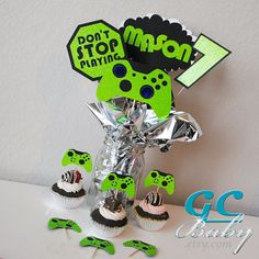 CUSTOM Video Game Centerpiece Picks & Cupcake Toppers - Gamer Party Decorations, Table Decor - Game On - Game's 10th Birthday Parties, Birthday Party Themes, Boy Birthday, Video Game Party, Party Games, Video Games, Birthday Party Centerpieces, Party Favors, Cupcakes