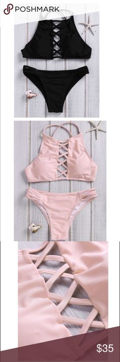Halter Lace up Bikini- Coming Soon Material: Polyester                                                Bra Style: Unlined & wire free halter                LADIES! let me know if you want this bathing suit and in which size!! I'm starting up my own boutique and would LOVE your input to see what you ladies are looking for!                 Price set, no trades, no mix and matching bathing suit. DO NOT PURCHASE YET!! LIKE TO BE NOTIFIED WHEN AVAILABLE Swim Bikinis