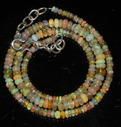 """40 Ctw 1Necklace 2to5mm 16"""" Beads Natural Genuine Ethiopian Welo Fire Opal 69215"""