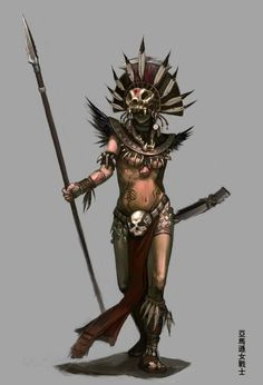 character concept female human priest tribal nomad indian spear wield Micctecihuatl