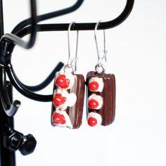 Boucles d'oreilles gourmandes bûches de Noël