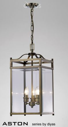 Aston 3 Light Pendant Lantern - Antique Brass