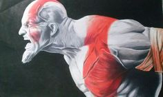 Kratos colored pencils