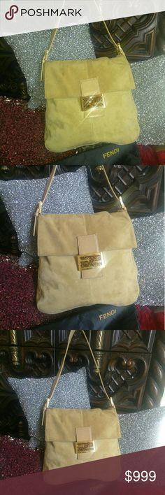 "RARE SWAROVSKI FENDI BORSA CON CARNE LAMPO LTD EDN Beautiful caramel in color and 100% genuine Suede. Swarovski crystals are embedded in logo clasp. Some scuffs on gold hardware but not distraction from beauty. In excellent used Condition. Shoulder bag. Approximately 11""by 12"" by 2"".  Gorgeous and comes with original dust bag. Fendi Bags"