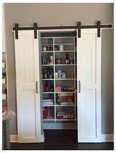 Sliding Pantry Doors, Kitchen Pantry Doors, Barn Door Pantry, Barn Door Closet, Sliding Wardrobe, Wardrobe Doors, Kitchen Pantries, Kitchens, Barn Door Designs
