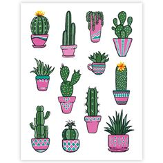 planting Art simple - All The Potted Cacti & Plants Cactus Drawing, Cactus Painting, Plant Painting, Plant Drawing, Cactus Art, Plant Art, Gouache Painting, Succulents Painting, Succulents Drawing