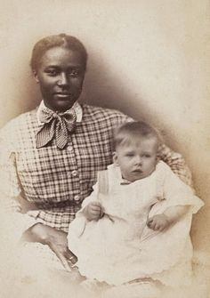 +~+~ Antique Photograph ~+~+   Young African American woman with her charge.  New York City.