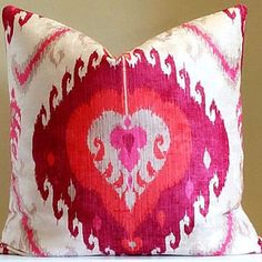 Pillow cover, Hot pink and Orange Ikat Medallion pillow, fabric both sides