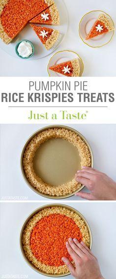 Pumpkin Pie Rice Krispies Treats recipe via justataste.com | A quick and easy holiday dessert recipe for Thanksgiving! #dessert #desserts #ricekrispies