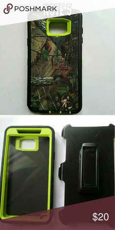 Note 5 defender style Phone case Camo and lime green heavy duty 3 in 1 phone case for Samsung note 5. Protect your phone against scratches, dirt, and shock damage! Comes with built in screen protector and belt clip holster. Accessories Phone Cases