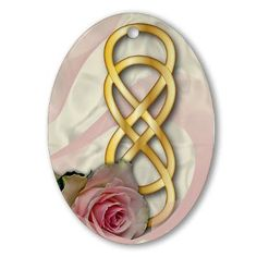 Double Infinity Gold With Pink Rose - 1 Ornament  #doubleinfinity #pink #rose #revengeTVshow