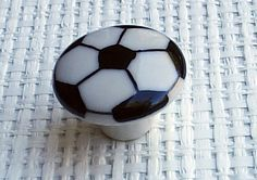 Set Of 6 Soccer Ball Cabinet Knobs Drawer Pulls 1 1/2  Kids Room Sports Decor White and Black. $18.00, via Etsy.