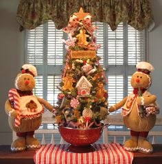 """Gingers and sweets start the Christmas treats. - 27"""" Gingerbread Kitchen Tree by Denise"""