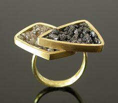 Layered Ring by Elaine Cox  Gold & Raw Diamonds