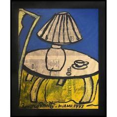 "Romero Britto ""THE LAMP"" Neo-Pop Artist Vintage Painting 1988 Authentic Original #ArtDeco"