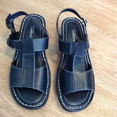 "Strictly Comfort sandals NWOT. Cute sandals with leather uppers. 1 1/2"" heels. Strictly Comfort Shoes Sandals"